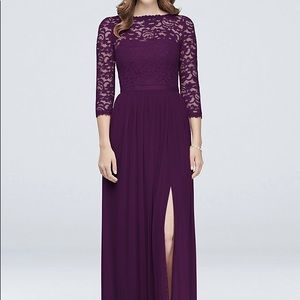 3/4 sleeve illusion lace mesh floor length gown